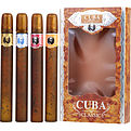 Cuba Variety 4 Piece Variety With Cuba Gold, Blue, Red & Orange & All Are Eau De Toilette Spray 1.17 oz for men by Cuba