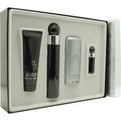 Perry Ellis 360 Black Edt Spray 3.4 oz & Aftershave Balm 3 oz & Deodorant Stick Alcohol Free 2.75 oz &  Edt Spray .25 oz Mini for men by Perry Ellis