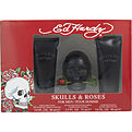 Ed Hardy Skulls & Roses Eau De Toilette Spray 2.5 oz & Hair & Body Wash 3 oz & Aftershave Balm 3 oz for men by Christian Audigier